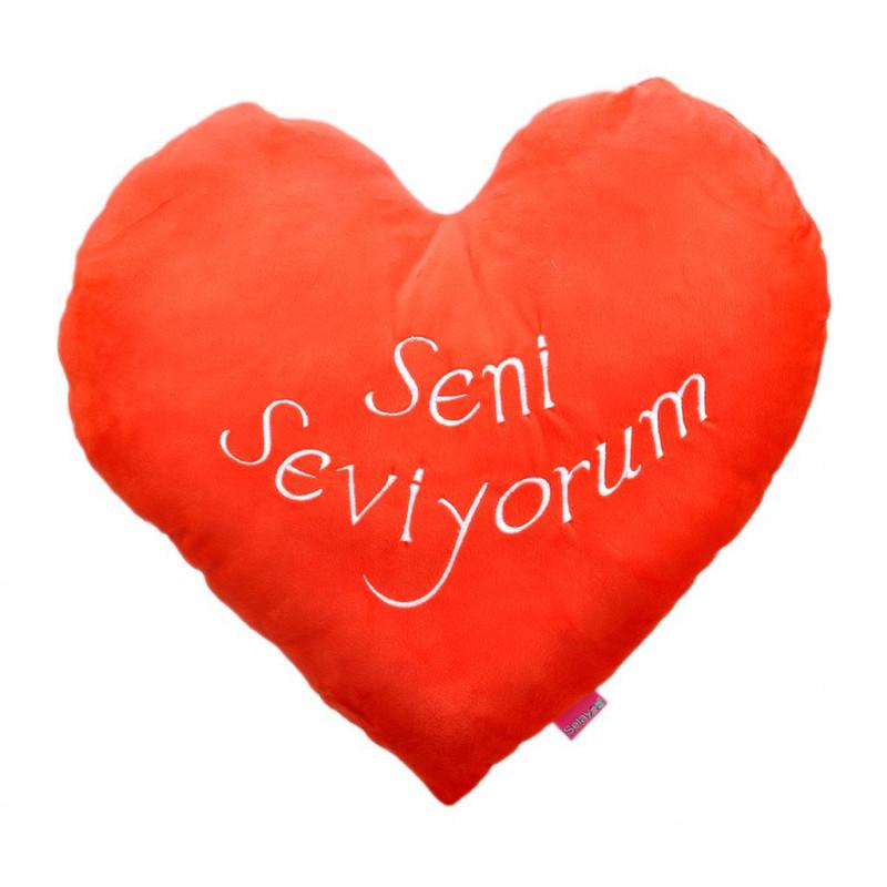 Kalpli Seni Seviyorum Yastık 45 cm