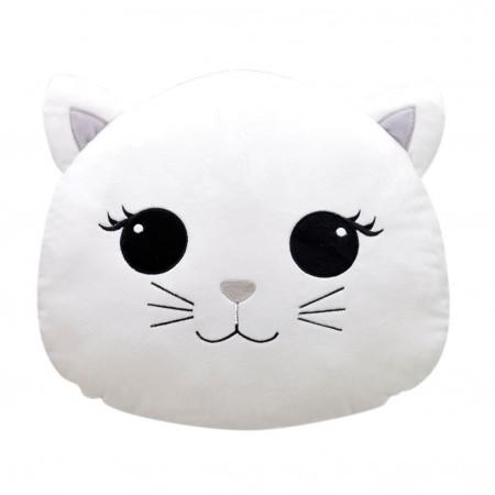 Kedi Figürlü Yastık 30 cm Beyaz