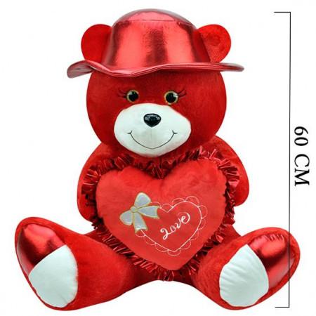 Şapkalı Ayı 60 cm Kırmızı