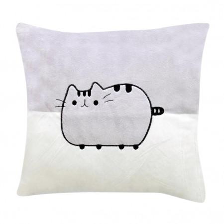 Şirin Kedi Figürlü Yastık 30 cm Gri