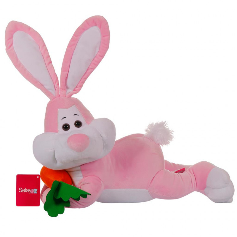 Yatan Tavşan 55 cm Pembe